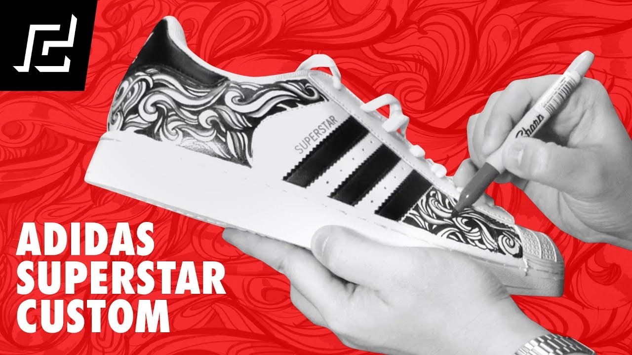 5ae251147 ADIDAS SUPERSTAR CUSTOM DESIGN USING SHARPIE! - YouTube