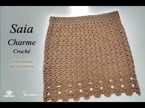 Saia de Crochê Charme - com tabela tamanhos - Simone Eleotério