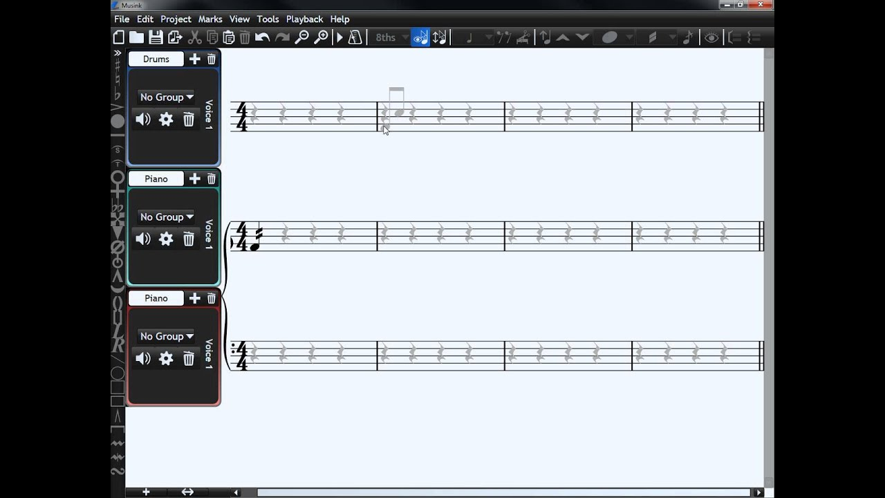 Micro-tutorial: Tremelo Flags and Drum Rolls in Musink (Free Notation  Software)