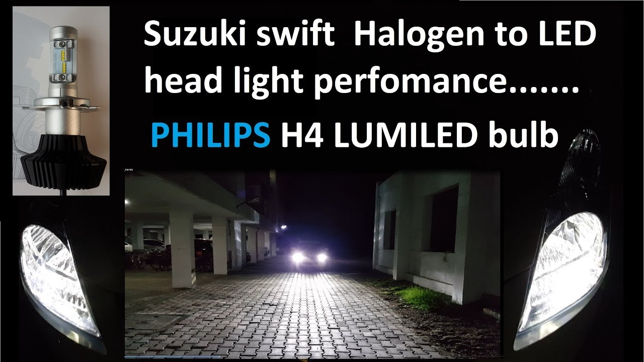 Suzuki Swift Led Head Light Perfomance By Philips H4 Lumiled Youtube