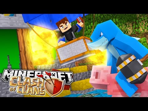 CLASH OF CLANS MINECRAFT - DEFENDING OUR CASTLE w/ Sharky and Scuba  Steve
