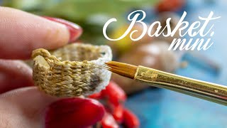 DIY How to make a miniature wicker basket with handles | Dollhouse miniatures