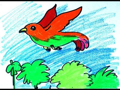 How To Draw Colorful Flying Birdby Pastel Color With Whatdrawing How To Draw A Bird Youtube