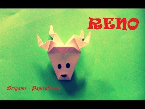 origami papiroflexia cabeza de reno muy sencilla para