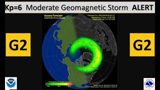 Kp=6 Moderate Geomagnetic Storm ALERT - The Solar Wind Blows Faster than 600 km/s