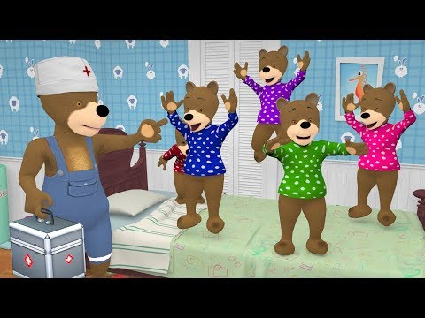 5 Little Baby Bears Jumping in The Bedroom. Baby Shark Cartoon W/ Songs Collection