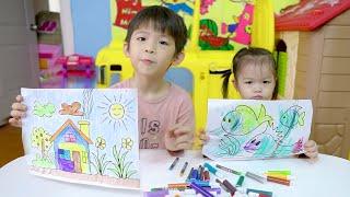 Xavi Tô Màu Tranh Ngôi Nhà, Anna Tập Tô Con Cá - Baby Practices Coloring