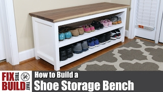 Learn how to make a DIY Shoe Storage Bench for your entryway or mudroom. Blog post: http://fixthisbuildthat.com/diy-entryway-