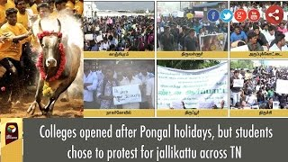 Colleges opened after Pongal holidays, but students chose to protest for jallikattu across TN