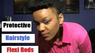 Easy Protective Hairstyles For African American Hair | Pinup Updo W. Flexi-Rods On Fine Natural Hair