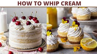 How To Whip Cream At Home | How To Make Whipped Cream to Stiff Peaks| How To Make Whipped Cream