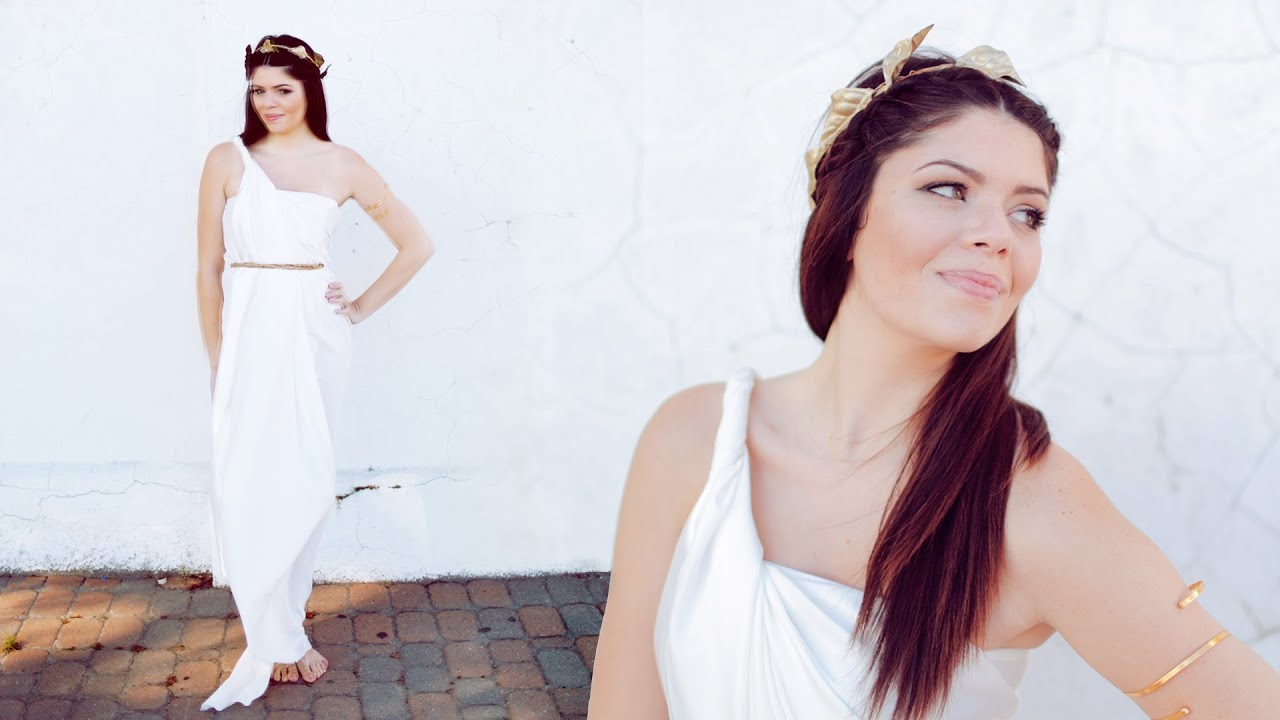 Diy greek goddess halloween costume no sew youtube solutioingenieria Gallery