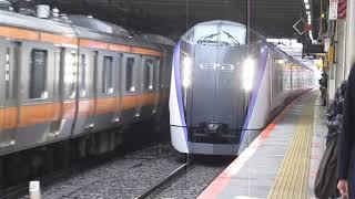 中央線E353系特急あずさ29号松本行三鷹駅高速通過