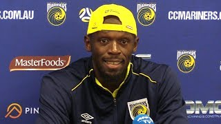 Usain Bolt Full Press Conference After Scoring First Goals For Central Coast Mariners