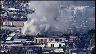 Blaze erupts in office building near Vegas Strip