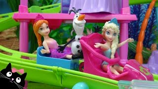 juguetes frozen elsa y anna van a la roller coaster resort de polly pocket vdeos de juguetes