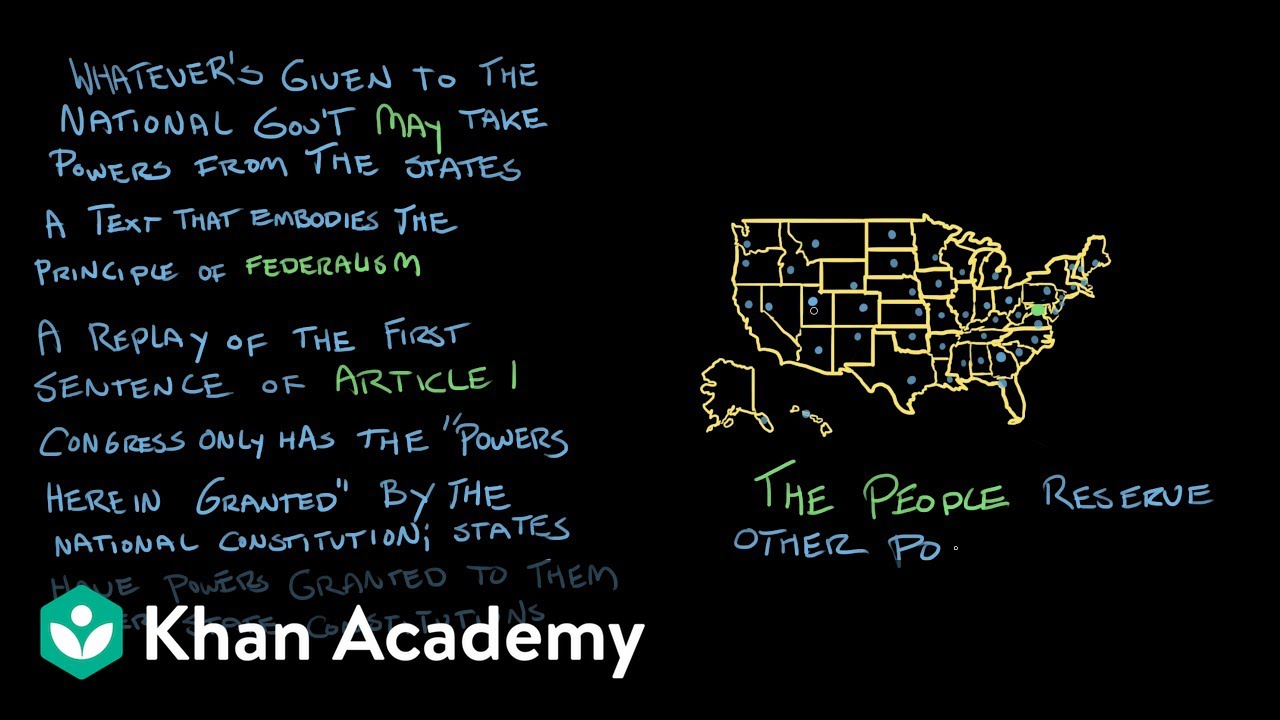 The Tenth Amendment The National Cons Ution Center Us Government And Civics Khan Academy