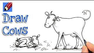 cows cow draw easy drawing step drawings getdrawings
