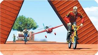 САМОЛЕТЫ ВЗРЫВАЮТ ВЕЛОСИПЕДИСТОВ! (GTA 5 ONLINE)(Адский и мясной режим, в котором велосипедисты сражаются против самолетов! Ставь