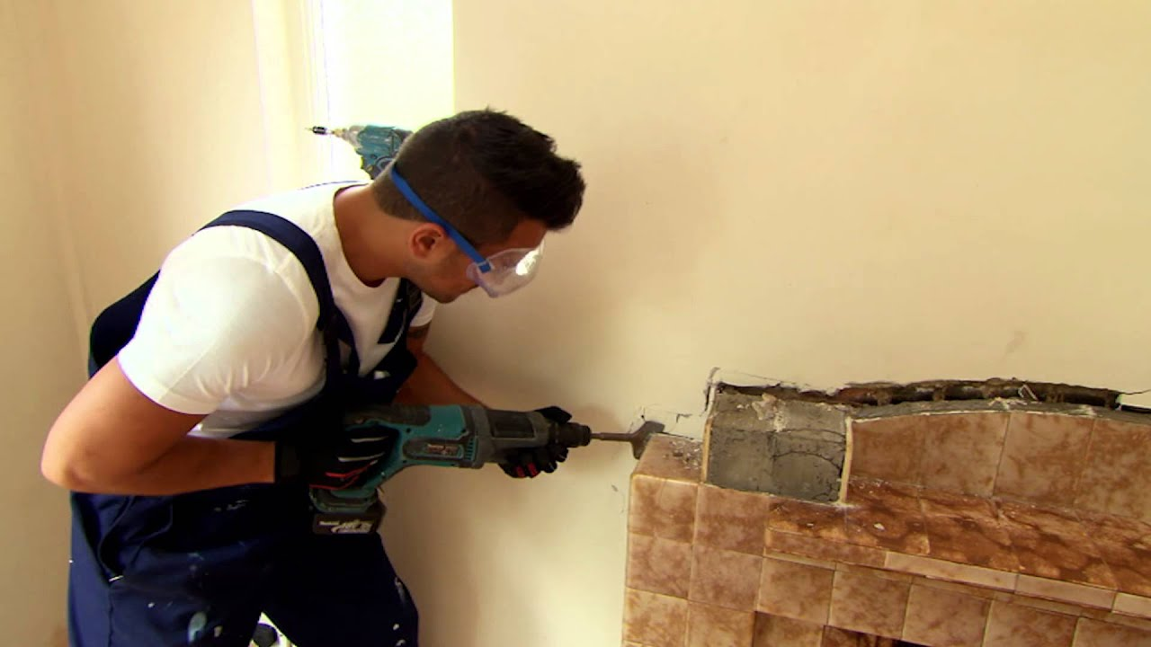 Peter Helps Remove A Tile Fireplace - Peter Andre's 60 Minute ...