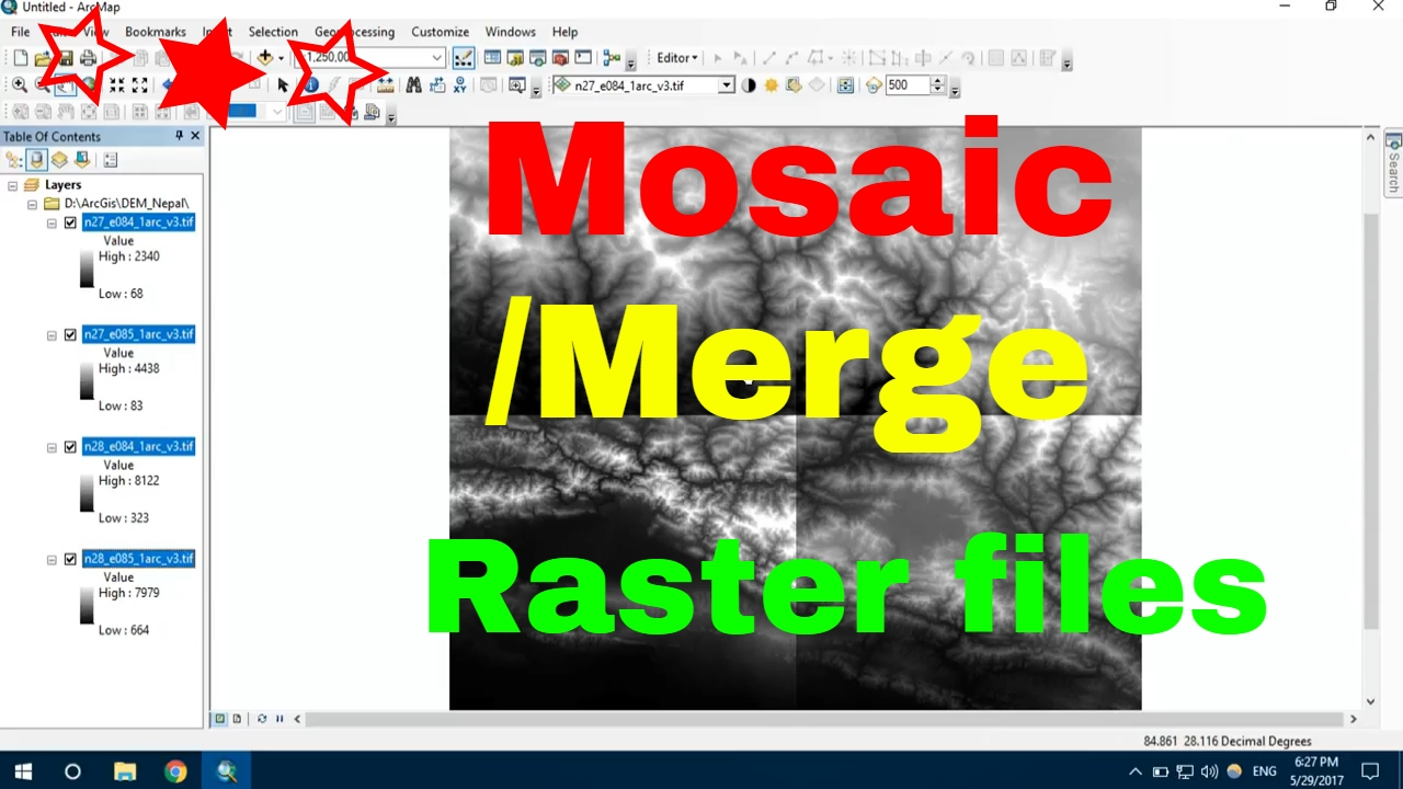 mosaic raster file :how to merge raster data: merge dem data