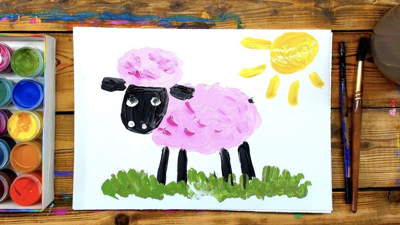 Веселый рисунок красками с ребенком 4 года