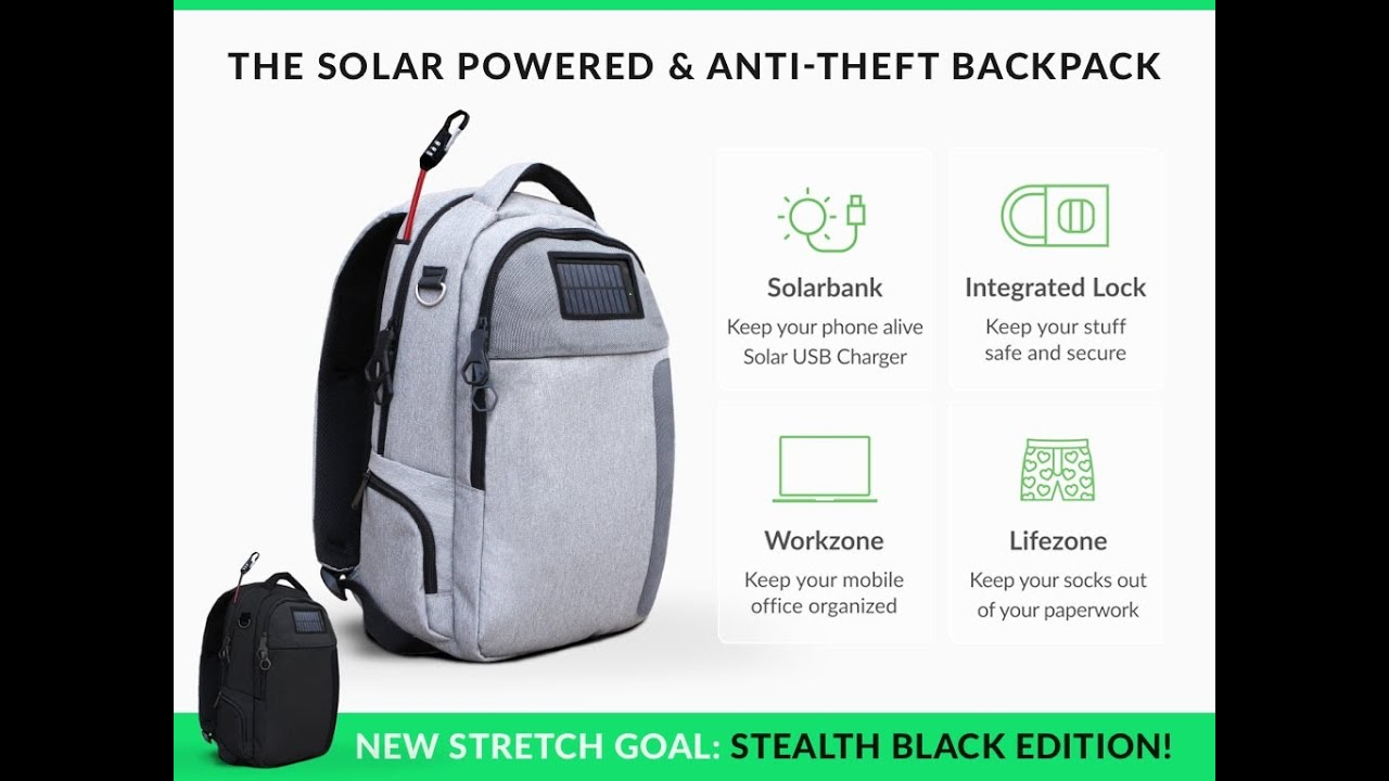 Lifepack Solar Powered Amp Anti Theft Backpack Kickstarter