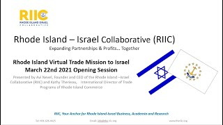 Rhode Island Virtual Trade Mission to Israel March 22nd 2021 Opening Session