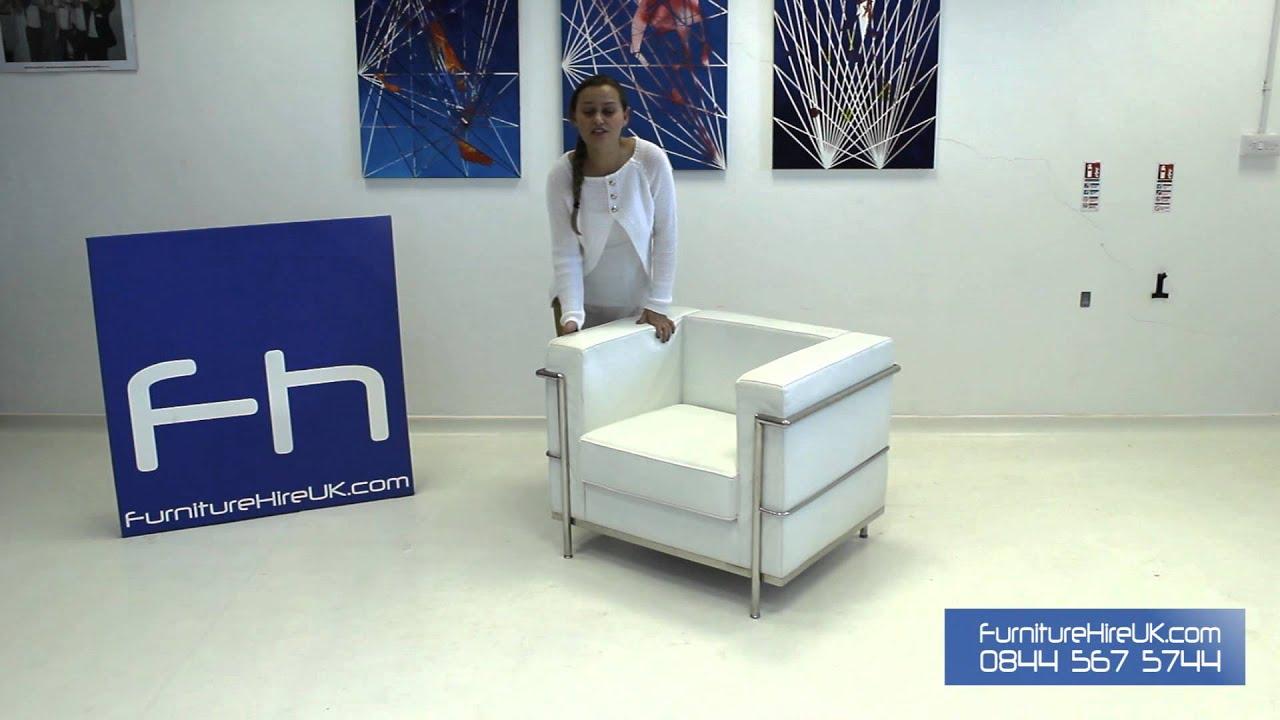 1 Seater White Corbusier Sofa Demo - Furniture Hire UK