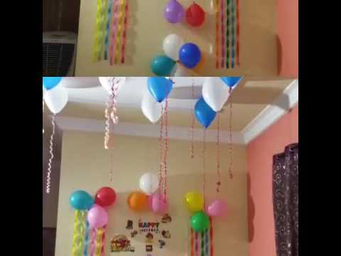 Birthday decoration ideas at home youtube for Birthday home decorations