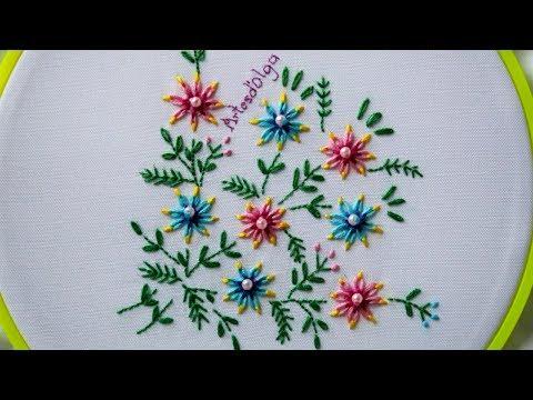 Hand Embroidery: 3 Color Lazy Daisy Stitch Flowers |Flores En Puntada Margarita Tricolor|Artesd'Olga