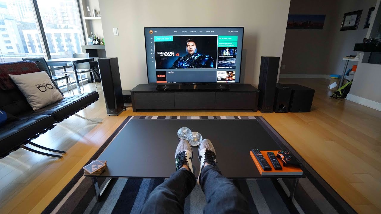 Ultimate 4k tv setup tech living room tour youtube for Best living room setup