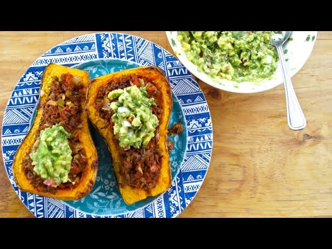 Butternut squash stuffed with spicy minced beef & guacamole