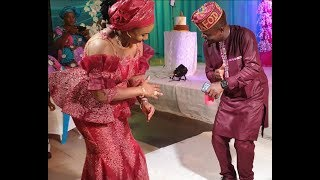 Kunle Afod Dancing With His Pretty Wife As Popular Actors Shower Them Money at His Mum Birthday