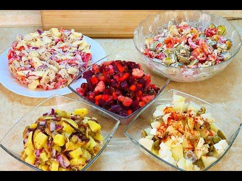 Пять Самых Вкусных салатов БЕЗ ЯИЦ И МАЙОНЕЗА ! Новогоднее меню 2020 / мария мироневич