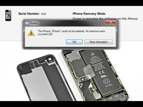 IPhone 4s Error 29 When Restoring In ITunes/Apple IPhone 4S ITunes Error 29 Hardware Fix