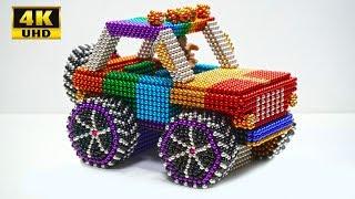 Вироби як зробити веселку позашляховик джип автомобіль з магнітними кульками (АСМР) | магнітна іграшка 4К