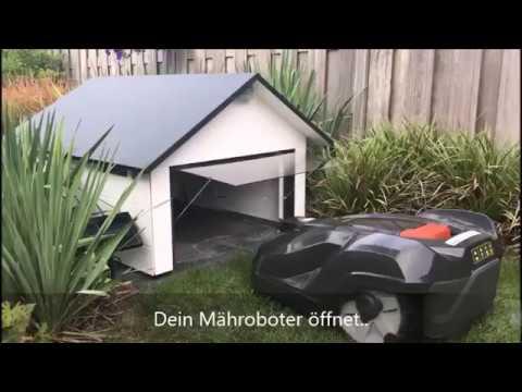 Robohut Mahroboter Garage Aus Holz Mit Mechanischem Garagentor
