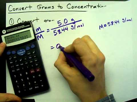 how to convert grams to moles per litre concentration youtube