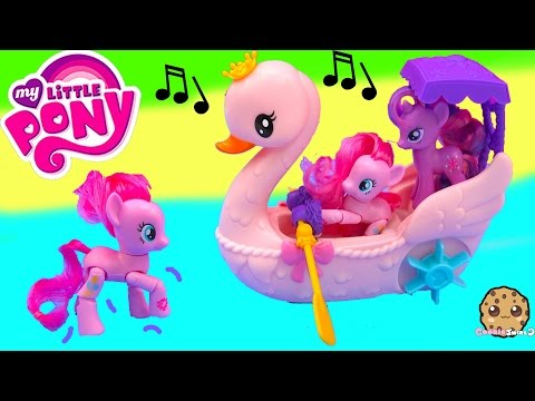My Little Pony Pinkie Pie Row & Ride Swan Boat Music Sound MLP Toy Unboxing Video Cookieswirlc