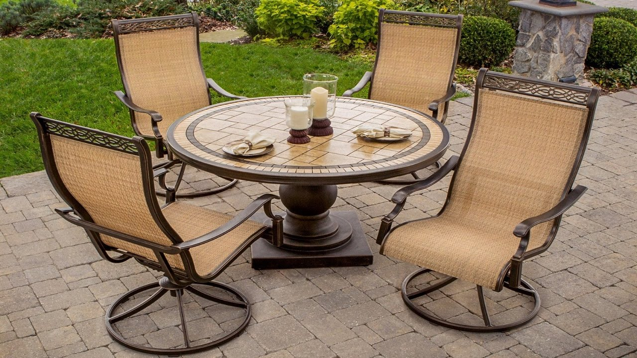 Outdoor Swivel Rockers Patio Furniture   5 Piece High Back Sling Swivel  Rocker Outdoor Dining Set   YouTube Part 77