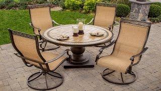 Outdoor Swivel Rockers Patio Furniture - 5-Piece High-Back Sling Swivel Rocker Outdoor Dining Set