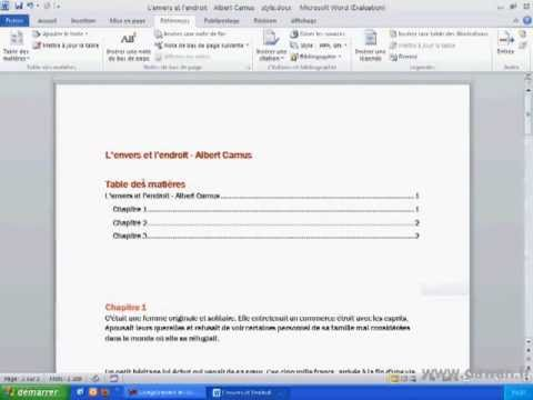 Tutoriel Word 2010 Creer Une Table Des Matieres Youtube