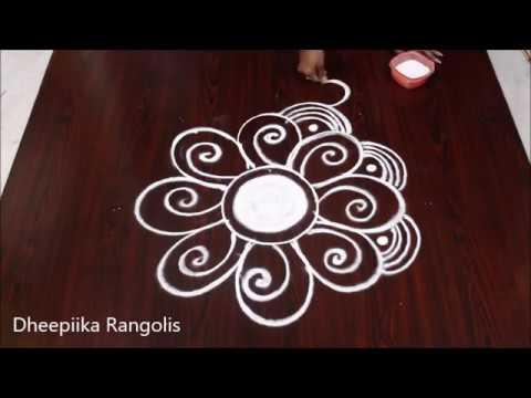 simple & easy rangoli design without dots - freehand daily kolam design - Apartment rangoli designs