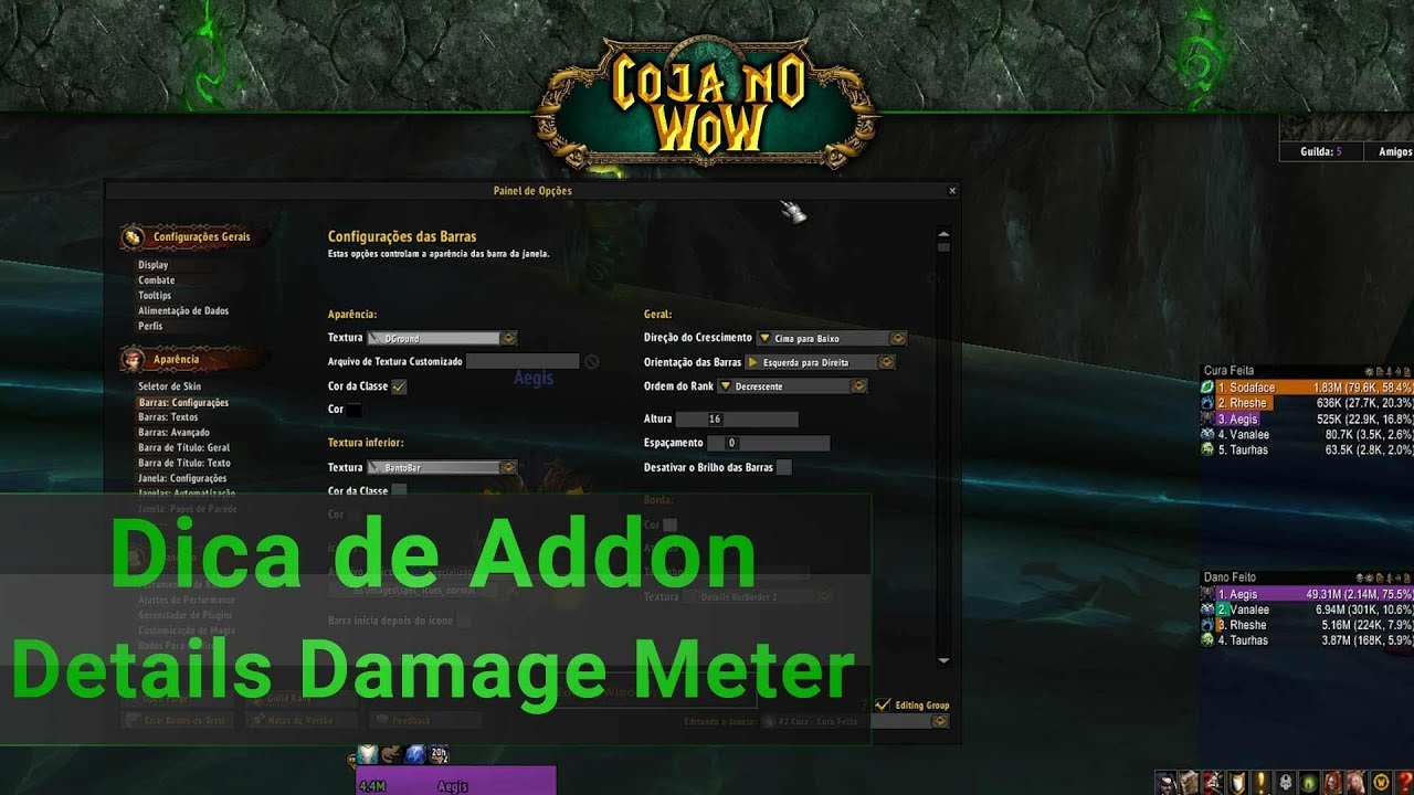 Dica Addon Details Damage Meter - @cojanowow