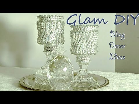 Dollar Tree DIY Glam Bling Candle Holders