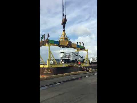 MASTEC trucks arriving in Puerto RIco for Hurricane Maria Relief
