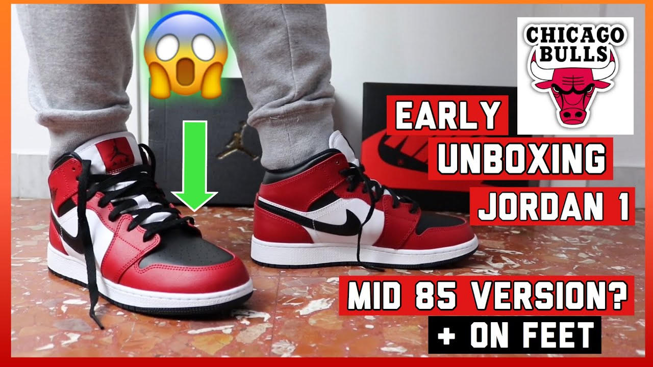Early Unboxing Air Jordan 1 Mid Chicago Black Toe 85 Mid Version