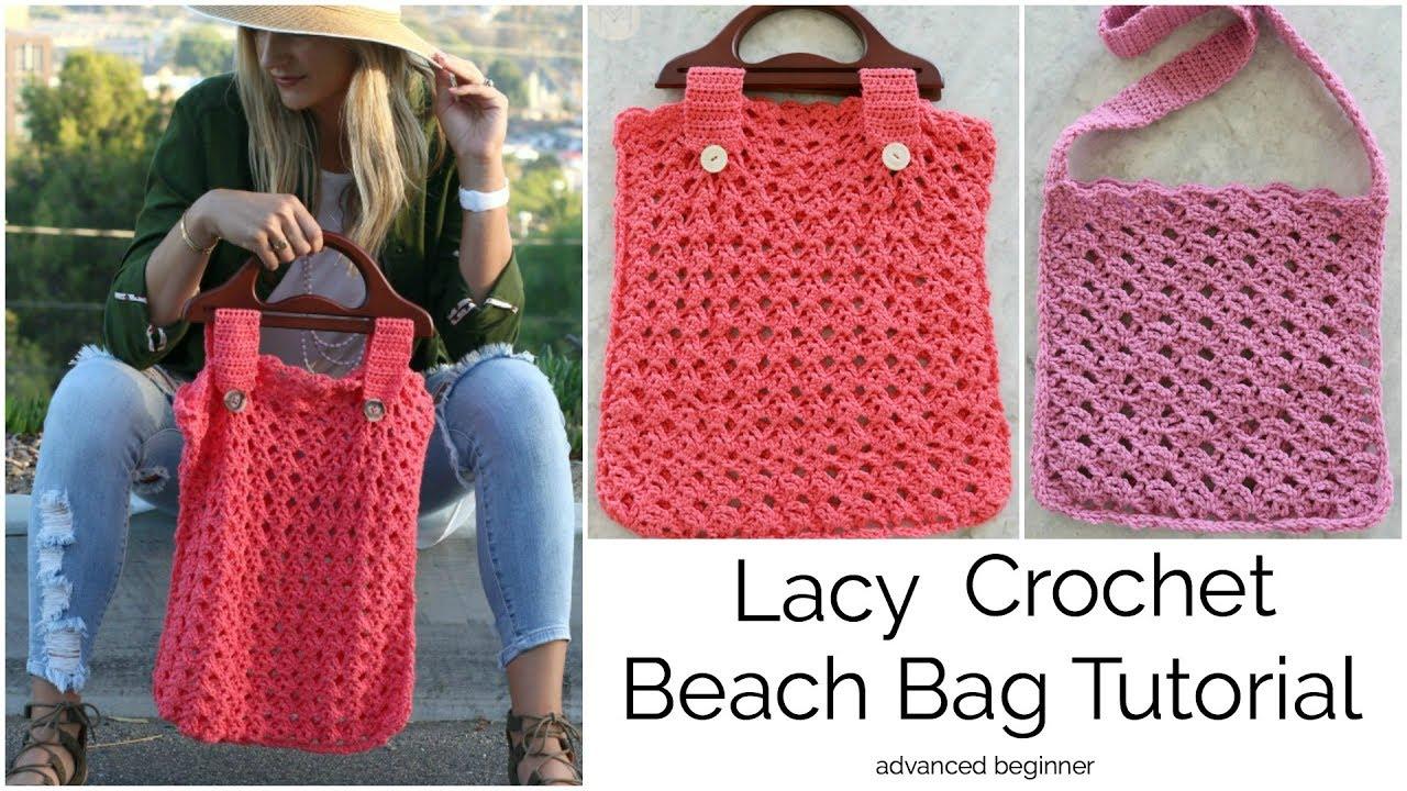 How to Crochet a Lacy Beach Bag - YouTube