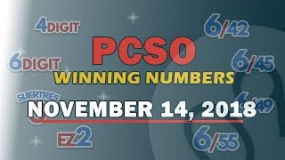 P85M Jackpot Grand Lotto 6/55, EZ2, Suertres, 4 Digit, & Mega Lotto 6/45 Draw | November 14, 2018